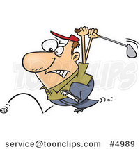Cartoon Golfer Swinging at His Last Ball by Ron Leishman