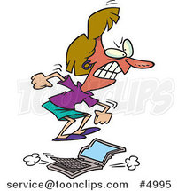 Cartoon Pissed Business Woman Stomping on a Laptop by Ron Leishman