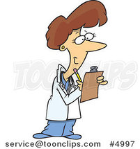 Cartoon Female Doctor Taking Notes by Toonaday