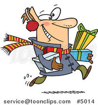 Cartoon Last Minute Christmas Shopper Carrying Gifts by Toonaday