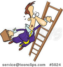 Cartoon Business Man Holding onto a Ladder with One Hand by Ron Leishman