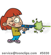 Cartoon Girl Playing Laser Tag by Ron Leishman