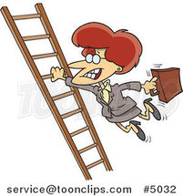 Cartoon Business Woman Holding onto a Ladder with One Hand by Ron Leishman