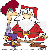 Cartoon Adult Lady Sitting on Santas Lap by Ron Leishman