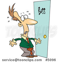 Cartoon Leary Business Man by a Door by Ron Leishman