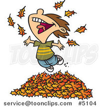 Cartoon Little Boy Playing in Leaves by Ron Leishman