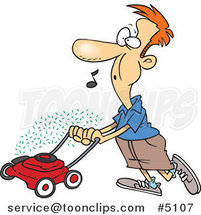 Cartoon Guy Whistling and Mowing His Lawn by Ron Leishman