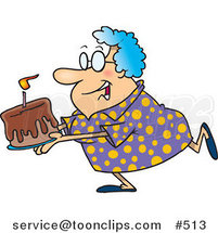Cartoon Happy Grandma Carrying a Birthday Cake by Ron Leishman
