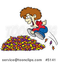 Cartoon Little Boy Jumping in Leaves by Ron Leishman