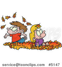 Cartoon Kids Playing in Leaves by Ron Leishman
