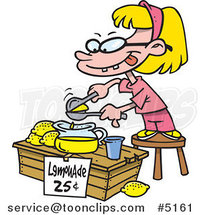 Cartoon Little Girl Making Lemonade by Ron Leishman