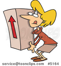 Cartoon Business Woman Lifting a Heavy Box by Ron Leishman