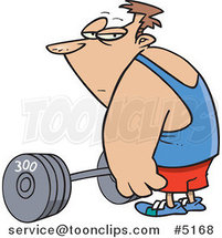Cartoon Guy Standing by a Barbell by Ron Leishman