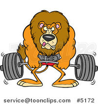 Cartoon Lion Weightlifting by Ron Leishman