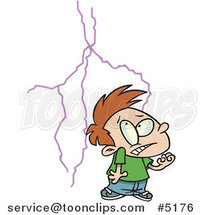 Cartoon Boy Afraid of Lightning by Ron Leishman