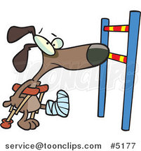 Cartoon Dog with a Broken Leg, Approaching a Hurdle by Ron Leishman