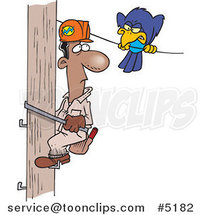 Cartoon Mean Bird Glaring at a Lineman by Ron Leishman