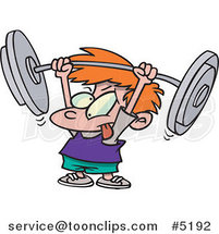 Cartoon Little Boy Lifting a Barbell by Ron Leishman