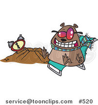Cartoon Groundhog Wearing Shades and Sitting by His Hole by Toonaday