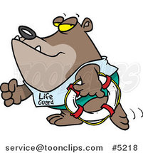 Cartoon Lifeguard Bear Carrying a Life Buoy by Toonaday