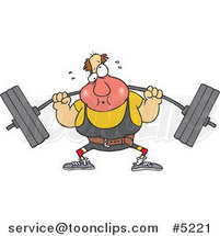 Cartoon Guy Lifting a Barbell by Ron Leishman