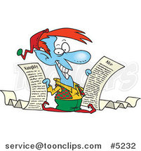 Cartoon Christmas Elf Holding Naughty and Nice Lists by Ron Leishman