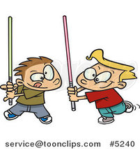 Cartoon Boys Playing with Light Sabres by Ron Leishman