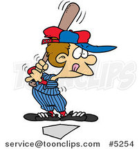 Cartoon Baseball Boy up for Bat by Ron Leishman