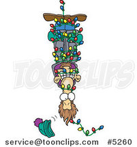 Cartoon Guy Hanging Upside down and Tangled in Christmas Lights by Ron Leishman
