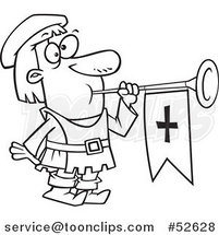 Cartoon Black and White Line Art of a Herald Blowing a Horn by Ron Leishman