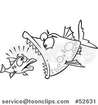 Cartoon Black and White Line Art of a Doomed Fish About to Be Eaten by a Big Fish by Ron Leishman