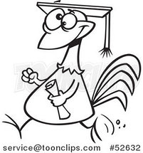 Cartoon Black and White Line Art of a Proud Chicken Graduate Walking with a Cap and Diploma by Ron Leishman