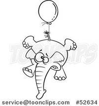 Cartoon Black and White Line Art of a Scared Elephant Floating with a Blue Balloon by Ron Leishman