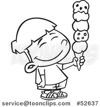 Cartoon Black and White Line Art of a Happy Asian Boy Holding a 5 Scoop Waffle Ice Cream Cone by Ron Leishman