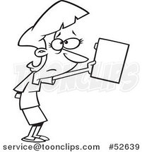 Cartoon Black and White Line Art of a Nervous Business Woman Submitting a File by Ron Leishman