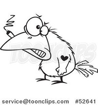 Cartoon Black and White Line Art of a Bad Crow Smoking a Cigar and Sporting a Heart Tattoo by Ron Leishman