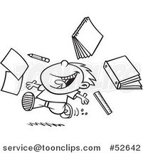 Cartoon Black and White Line Art of a Happy Boy Throwing Supplies on the Last Day of School by Ron Leishman