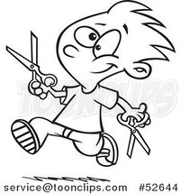 Cartoon Black and White Line Art of a Happy Boy Dangerously Running with Scissors by Ron Leishman