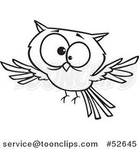 Cartoon Black and White Line Art of a Cross Eyed Owl Flying by Ron Leishman