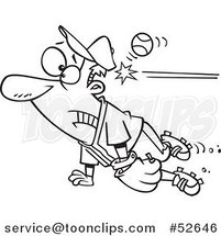 Cartoon Black and White Line Art of a Distracted Baseball Player Getting Whacked in the Head by Ron Leishman