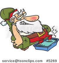 Cartoon Santa Relaxing with a Foot Bath by Ron Leishman