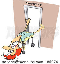 Cartoon Reluctant Lady Going into Surgery by Toonaday