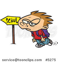 Cartoon Gloomy Boy Walking to School by Ron Leishman