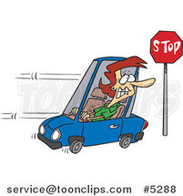 Cartoon Lady Running a Stop Sign by Ron Leishman