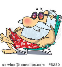 Cartoon Santa Sun Bathing in a Chair by Ron Leishman
