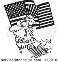 Cartoon Outlined Uncle Sam Carrying an American Flag by Ron Leishman