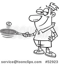 Cartoon Outlined Guy Bouncing a Ball on His Tennis Racket by Ron Leishman