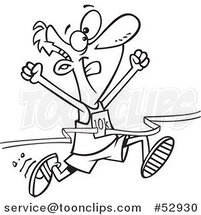 Cartoon Outlined 10k Runner Crossing the Finish Line by Ron Leishman