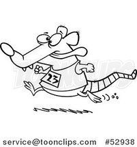 Cartoon Outlined Rat Running a Race by Ron Leishman