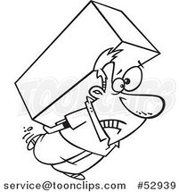 Cartoon Outlined Strained Guy Carrying a Heavy Big Box on His Back by Ron Leishman